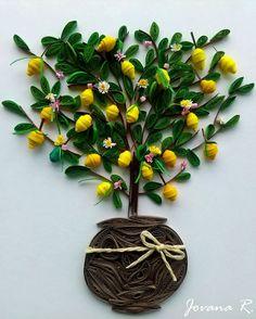 Lemon tree Quilled lemon tree Quilling card Handmade
