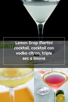 Lemon Drop Martini cocktail, cocktail con vodka citron, triple sec e limone Lemon Drop Martini, Alcoholic Drinks, Cocktails, Triple Sec, White Wine, Vodka, Champagne, Tableware, Food