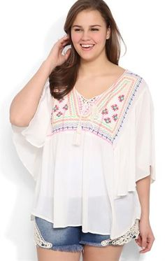 Deb Shops Plus Size Flutter Sleeve High Low Peasant Top with Neon Embroidery $19.60