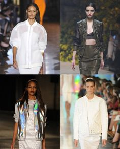 BOMBER JACKETS   An easy way to streamline your spring/summer '13 look towards the luxe sport trend? Throw a bomber jacket over the top.     Clockwise from top left: Stella McCartney, Loewe, Jonathan Saunders, Christopher Kane