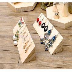 Plain Wooden Jewellery Hook Earrings Jewelry Display Holder Stand Storage #MagiDeal
