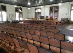 The restored courtroom in the Rhea County Courthouse in Dayton, Tenn., where the Scopes Monkey Trial took place in 1925.
