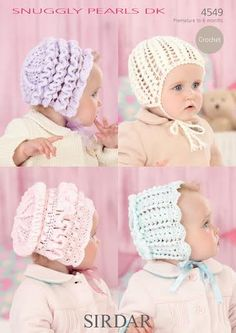 Sirdar Snuggly Pearls DK Baby Bonnets and Helmet Crochet Pattern 4549 8a080bc8eb4