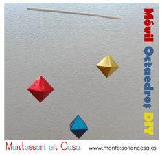 """Móvil de bebé """"Octaedros"""" (Tutorial) - DIY """"Octahedron"""" baby mobile • Montessori en Casa"""