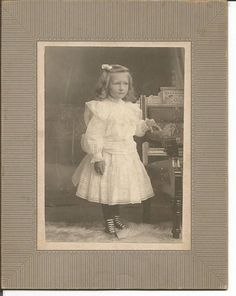Antique 1900's Photograph of a Little Girl in White Dress High Top Shoes