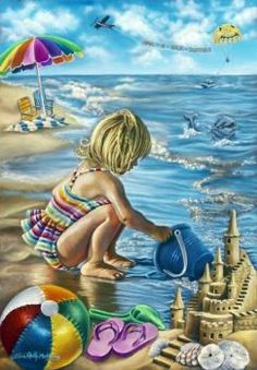black and white sketch of a little girl playing at the beach - Kleuren voor volwassenen Colouring Pics, Coloring Book Pages, Greyscale Colour, Image 3d, Illustrations, Black And White Pictures, Beach Fun, Colorful Pictures, Color Inspiration