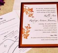 Fall wedding invitation.