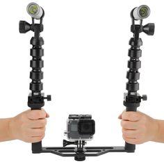 SHOOT Scuba Diving Two-Handle Flex Arm Tray Under Water Video Flash Lightts for Gopro SJcam Yi