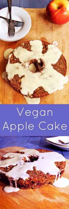 Vegan Apple Cake with Simple Frosting. Gluten free, low fat, packed with apples and cinnamon. Even the frosting is healthy!