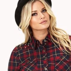 Forever 21 Plaid Shirt with Spiked Shoulder Talk about a classic with a twist. Classic plaid shirt with gold spiked detailing on both shoulders. Worn a few times, still in great condition. NO TRADES OR PAYPAL Forever 21 Tops Button Down Shirts