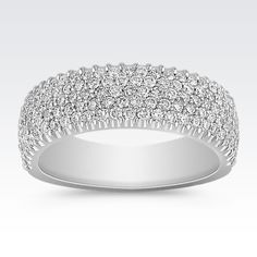 Five rows of sparkling diamonds line this gorgeous 14 karat white gold ring. One hundred and thirty-four round diamonds, at approximately .95 carat, have been hand-selected for fire and brilliance in this magnificent design.