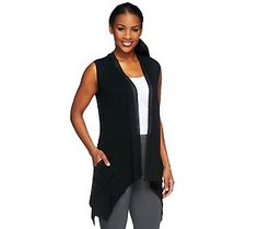 LOGO by Lori Goldstein V-Neck Vest with Chiffon Trim