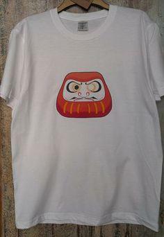 White Unisex Japanese Daruma Doll T-shirt