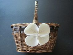 Flower Girl Basket Wedding Ivory magnolia flower choose your colors #flowergirlbasket by ArtisanFeltStudio on Etsy, $29.00