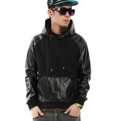 Men's Hipster Hip Hop Faux Leather Rock & Roll Hoodie - Join The Klub