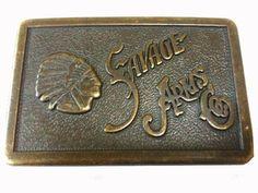 Vintage 70s Savage Arms Brass Buckle