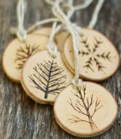 One of these charming, custom-made wooden ornaments, made from fallen tree branches, would look perfect adorning a bottle of wine or tied on as a tag. ($40 for a set of 5, thesittingtree.etsy.com)