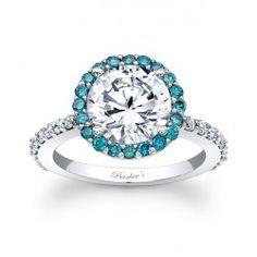 Blue Diamond Halo Engagement Ring - 7839LBLW