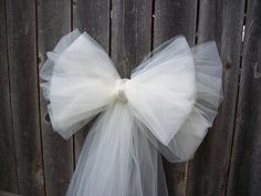 Tulle Pew Bow Tulle Wedding Church Pew Decor by OneFunDay on Etsy