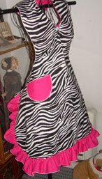 Retro 50's Style Chic Zebra Ruffled Bib Apron MADE TO by SusyBs, $19.95. Apron shown is 1X    If you want to know what I want for my bday or christmas or even Easter.. This would be it! :)