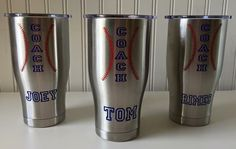 Perfect gift idea for the coach in your life! We love this personalized vinyl for our coaches out there. Custom made to fit Yeti Cup. Please leave name in the notes in checkout. Yeti Cup not included. Please allow longer ship time. Softball Coach Gifts, Basketball Coach, Softball Stuff, Basketball Gifts, Softball Mom, Basketball Uniforms, Basketball Shoes, Baseball Crafts, Baseball Mom