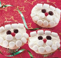 Quick and Easy Holiday Desserts - Marshmallow Santas - Click Pic for 24 Christmas Cupcake Ideas and Recipes