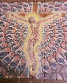 Alex Grey Carbon Jesus 9 Panel LSD Blotter Art Vintage 1990's RARE