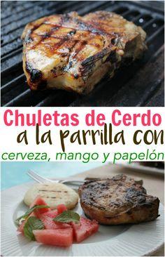 Estas chuletas de cerdo a la parrilla marinadas en cerveza, mango y papelón nos transporta al Caribe venezolano. Organiza una parrillada con tus amigos y acompaña todo con arepas. #PorkTeInspira #PrendeElSabor #ad Recetas de Venezuela