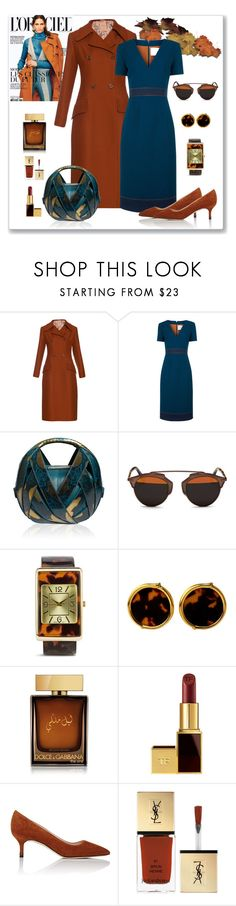 """Roksanda Laurette Pencil Dress & Coat Look"" by romaboots-1 ❤ liked on Polyvore featuring Roksanda, Perrin, Christian Dior, Chico's, Yves Saint Laurent, Dolce&Gabbana, Tom Ford and Manolo Blahnik"