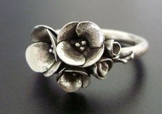 A Tiny Bouquet of Poppies - Handsculpted, Cast Sterling Silver Ring