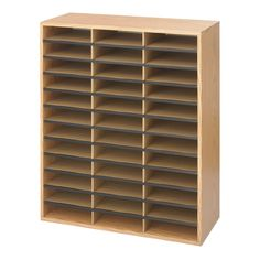 Safco Medium Oak Wood/Corrugated Literature Organiser with 36 Compartment