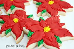 Christmas Cookies Poinsettia Cookies Holiday by rollinindough