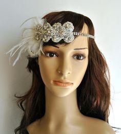 The Great Gatsby,20's flapper Headpiece, Vintage Inspired, Bridal 1920s Headpiece , 1930's,Rhinestone headband, Rhinestone flapper headpiece...