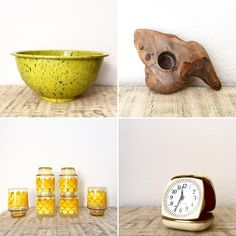 Check out what's fresh at inmyigloo this week! Awesome Lime and avocado Texas Ware mixing bowl, Driftwood candle holder, rad retro juice glasses and a Westclox Germany travel alarm clock from the 70s! https://www.etsy.com/shop/inmyigloo