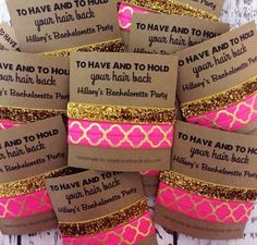 Bachelorette Hair Tie Party Favors - Each comes with two hair ties, one print and one gold glitter. Add your customization in the note to seller box or leave