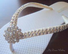 6027f1c463fe1 Items similar to Ivory Bridal Flip Flops