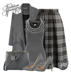 A fashion look from June 2016 featuring waterfall jackets, plaid pleated skirt and Rosemunde. Modest Fashion, Fashion Outfits, Fashion Trends, Classy Outfits, Stylish Outfits, Suits For Women, Clothes For Women, Church Fashion, Grey Outfit