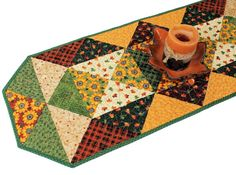 Quilted Autumn Table Runner Sunflowers by QuiltSewPieceful on Etsy