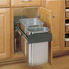 For The Rev A Shelf Stainless Steel Series Bottom Mount Double Bin Trash Can Quart And 21 Capacity Save Under Kitchen Sinkskitchen