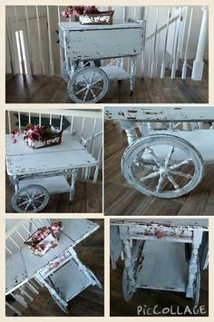 I used Sweet Pickins Milk Paint Color - Flour Sack.  I loved how this Tea Cart Turned Out. By Tattered Butterfly Studio