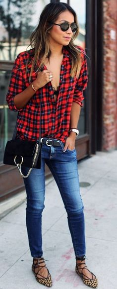 Red Tartan Plaid Silk Button Up Fall Street Style Inspo by Sincerely Jules