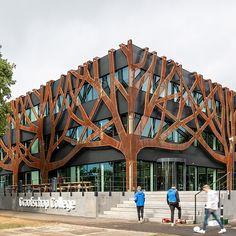Cepezed Designs Graafschap College Doetinchem with Corten Tree Façade - Architecture Pavilion Architecture, Education Architecture, Architecture Plan, Amazing Architecture, Building Elevation, Building Facade, Interesting Buildings, Beautiful Buildings, Atrium