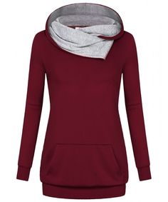 93f516a43a6 Women s Cowl Neck Casual Long Sleeve Hoodie Pullover Sweatshirt With  Kangaroo Pocket - Wine - CV186ZS87MX