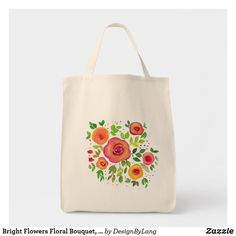 Shop Bright Flowers Floral Bouquet, Watercolor Painting Tote Bag created by DesignByLang. Bright Flowers, Floral Bouquets, Design Your Own, Watercolor Paintings, Floral Design, Reusable Tote Bags, Stitch, Gifts, Accessories