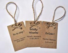 Zawieszki na alkohol eko rustykalne ślub komunia Wedding Card Design, Wedding Cards, Paper Shopping Bag, Rustic Wedding, Wedding Planning, Reusable Tote Bags, Birthday, Diy, Inspiration