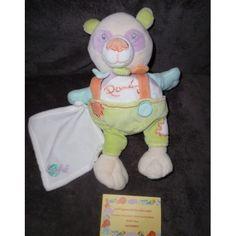 Baby Nat Ours Panda Vert/Orange Et Mouchoir