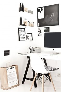 Scandinavian - home office - black + white + birch - wall organization - chalkboard Workspace Inspiration, Room Inspiration, Interior Inspiration, Small Workspace, Office Workspace, Industrial Workspace, Industrial Bedroom, Desk Space, Industrial Lighting