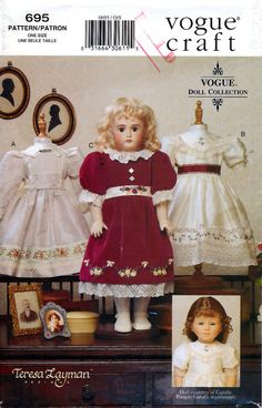 "Vogue 695 by Teresa Layman Heirloom Clothes for 18"" Doll Sewing Pattern - Uncut"