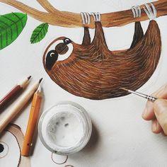 Antes o después tenía que pintar a uno de mis animales favoritos: el perezoso. Puede haber alguien en la tierra al que no le guste  esta criatura? Es puro amorrr ! Que ganas tengo de verlos en directo... /// I've painted one of the my favourite animals ever: sloths. They are the most adorable creatures on planet earth don't  you think?  Loveeee  #art #illustration #drawing #draw #picture #artist #sketch #sketchbook #paper #pen #pencil #artsy #instaart #beautiful #instagood #gallery…