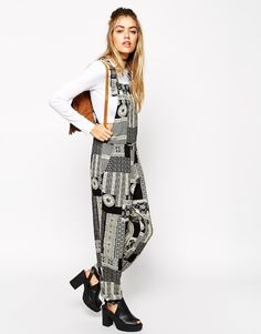 Shop ASOS Reclaimed Vintage Dungarees In Tile Print With Self Ties at ASOS. Dungarees, Overalls, Latest Trends, Duster Coat, Asos, Vintage Fashion, Style Inspiration, Tile, Jackets